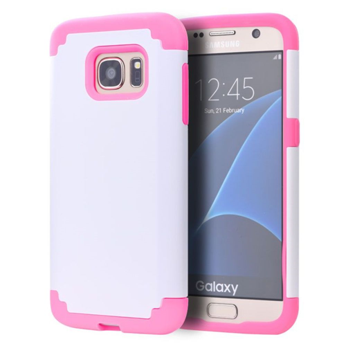 Insten Hard Dual Layer TPU Cover Case For Samsung Galaxy S7 Edge, White/Pink