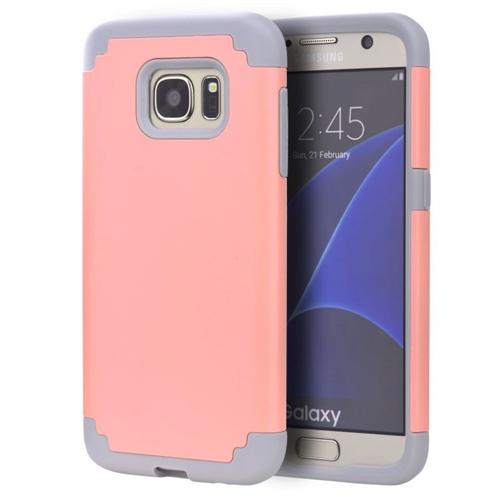Insten Hard Hybrid TPU Cover Case For Samsung Galaxy S7 Edge, Light Pink/Gray