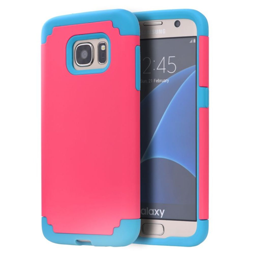 Insten Hard Hybrid TPU Cover Case For Samsung Galaxy S7 Edge, Hot Pink/Blue