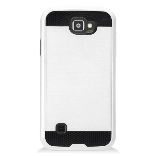 Insten Chrome Hybrid Brushed Hard Cover Case For LG K3 (2016), Silver/Black