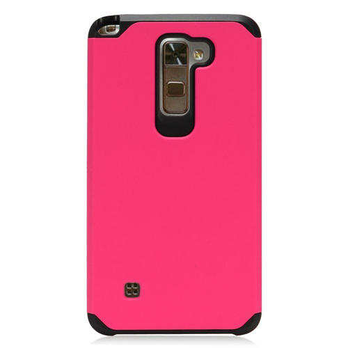 Insten Hard Dual Layer TPU Cover Case For LG Stylo 2 Plus, Hot Pink/Black
