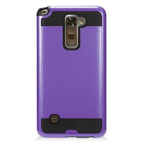 Insten Chrome Hybrid Brushed Hard Cover Case For LG Stylo 2 Plus, Purple/Black
