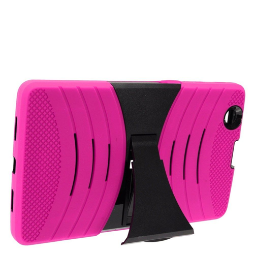 Insten Wave Symbiosis Rubber Hard Case w/stand For LG G Pad 8.0/G Pad X 8.0, Hot Pink/Black