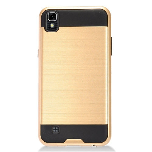 Insten Chrome Dual Layer Brushed Hard Case For LG X Power, Gold/Black