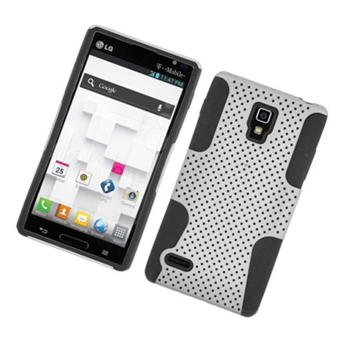 Insten Mesh Hard Hybrid TPU Cover Case For LG Optimus L9 P769, White/Black