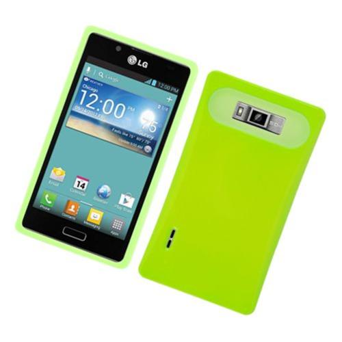 Insten Night Glow Hard Jelly Silicone Cover Case For LG Splendor US730 / Venice LG730, Neon Green