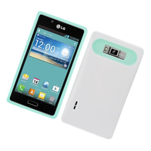 Insten Night Glow Hard Jelly Silicone Case For LG Splendor US730 / Venice LG730, White/Mint Green