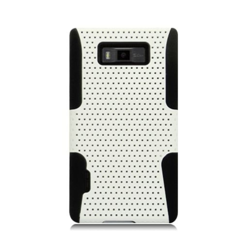 Insten Mesh Hard Dual Layer TPU Cover Case For LG Splendor US730 / Venice LG730, White/Black