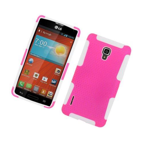 Insten Mesh Hard Dual Layer TPU Case For LG Optimus F7 US780 (US Cellular), Hot Pink/White