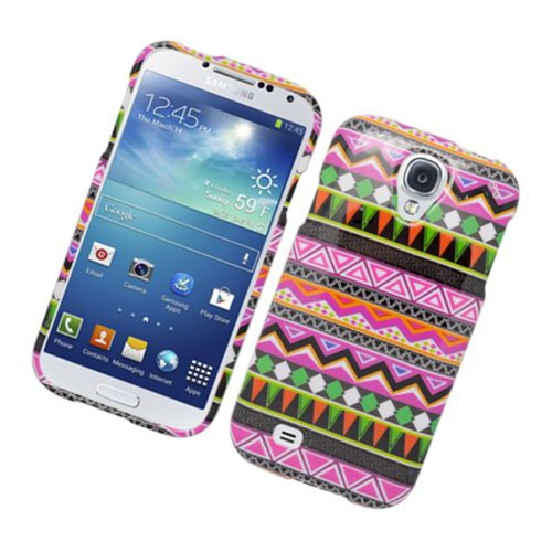 Insten Tribal Hard Plastic Case For Samsung Galaxy S4, Pink/Green