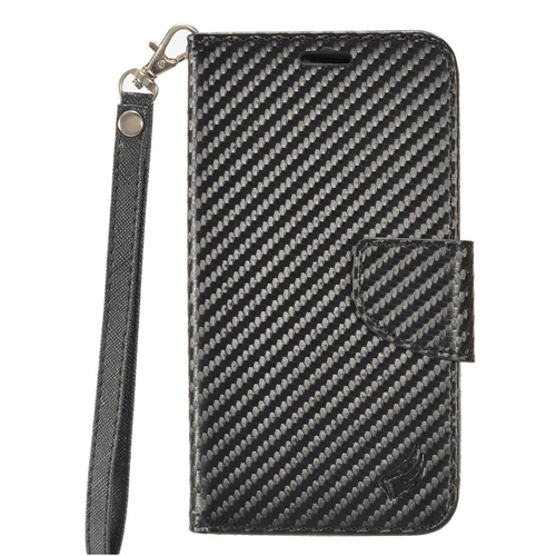 Insten Carbon Fiber Folio Leather Fabric Case Lanyard w/stand/card holder For LG X Power, Black