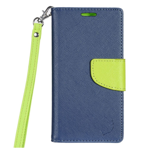 Insten Flip Leather Case Lanyard w/stand/card slot For LG Tribute HD/X STYLE, Dark Blue/Green