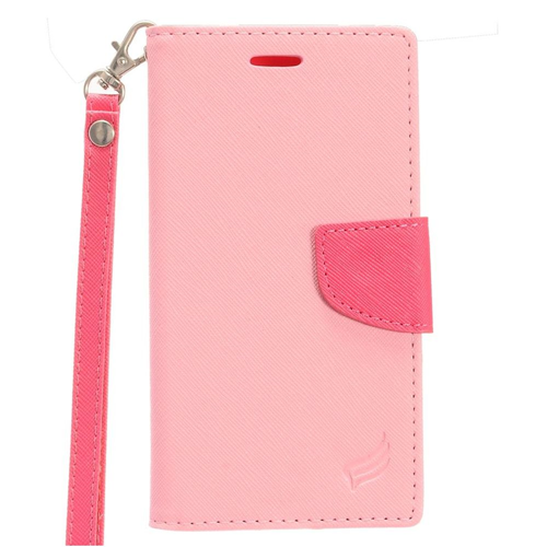 Insten Leather Fabric Case Lanyard w/stand/card slot For LG Tribute HD/X STYLE, Pink/Hot Pink
