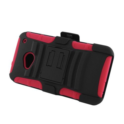 Insten Advanced Armor Hard Hybrid Plastic Silicone Case w/stand/Holster For HTC One M7, Black/Red