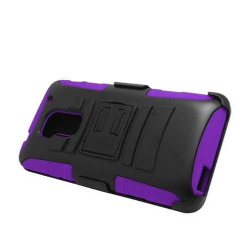 Insten Armor Hard Hybrid Plastic Silicone Case w/stand/Holster For HTC One Max, Black/Purple