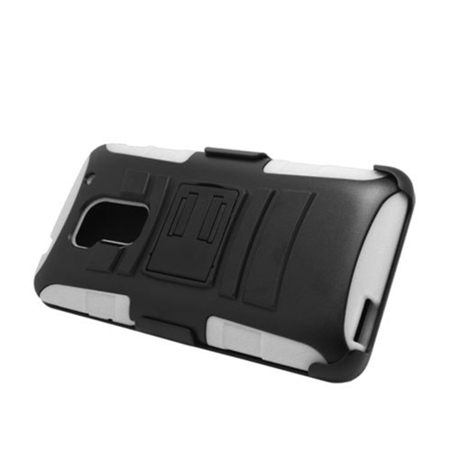 Insten Armor Hard Dual Layer Plastic Silicone Case w/stand/Holster For HTC One Max, Black/White