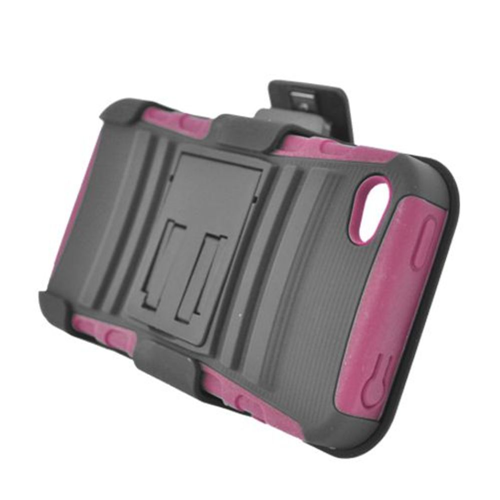 Insten Armor HardPlastic Silicone Case w/stand/Holster For Apple iPhone 4/4S, Black/Hot Pink