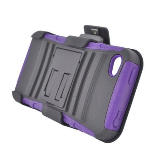 Insten Armor HardPlastic Silicone Case w/stand/Holster For Apple iPhone 4/4S, Black/Purple