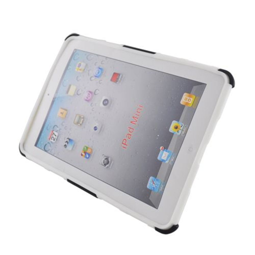 Insten Armor Hard Dual Layer Plastic Silicone Case w/stand For Apple iPad Mini 2/3, White/Black