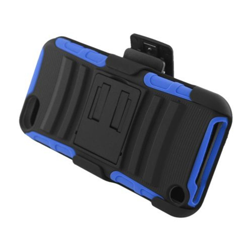 Insten Armor Hard Hybrid Silicone Case w/stand/Holster For Apple iPod Touch 5th Gen, Black/Blue
