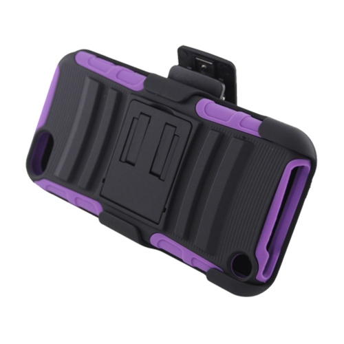 Insten Armor Hard Hybrid Silicone Case w/stand/Holster For Apple iPod Touch 5th Gen, Black/Purple