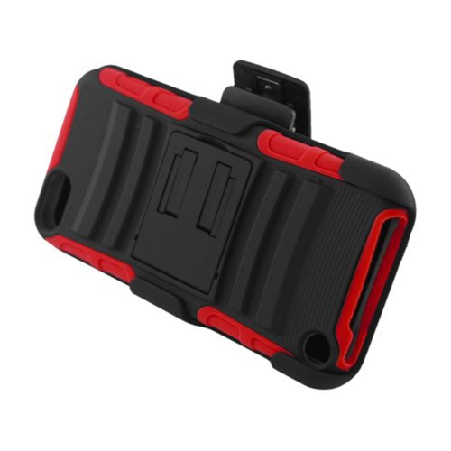 Insten Advanced Armor Hard Dual Layer Plastic Case w/stand For Apple iPod Touch 5th Gen, Black/Red