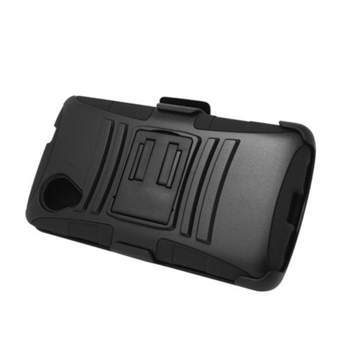 Insten Armor Hard Hybrid Plastic Silicone Case w/stand/Holster For LG Google Nexus 5 D820, Black