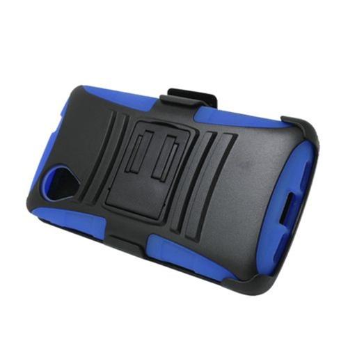 Insten Armor HardPlastic Silicone Case w/stand/Holster For LG Google Nexus 5 D820, Black/Blue