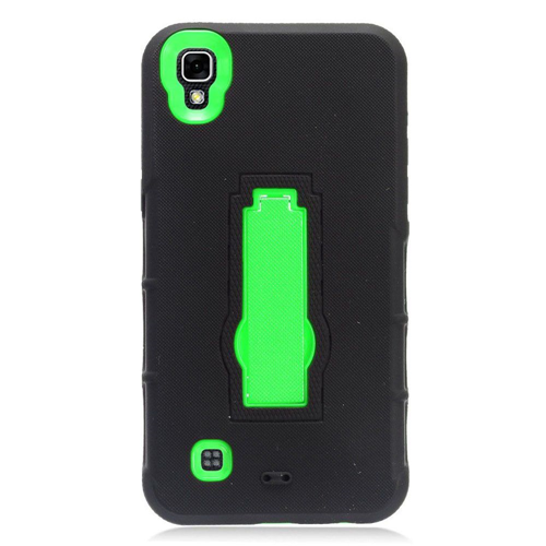 Insten Symbiosis Soft Rubber Hard Case w/stand For LG X Power, Black/Green