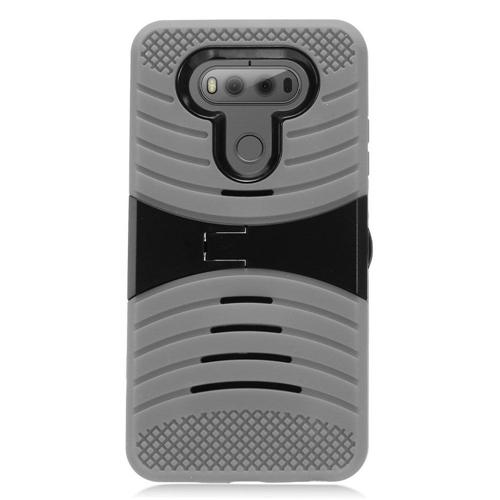 Insten Wave Symbiosis Gel Rubber Hard Case w/stand For LG V20, Gray/Black