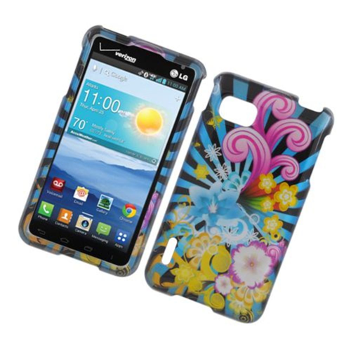 Insten Fireworks Hard Cover Case For LG Optimus F3 LS720, Blue/Colorful