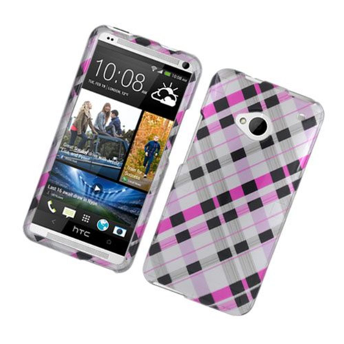 Insten Checker Hard Cover Case For HTC One M7, Pink/Black