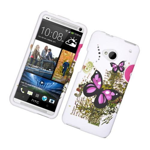 Insten Butterfly Hard Cover Case For HTC One M7, White/Pink
