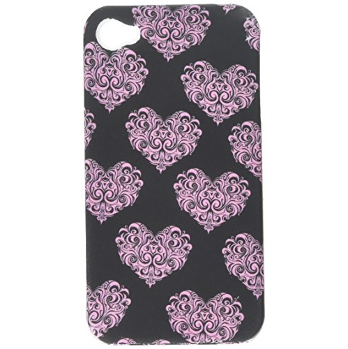 Insten Hearts Hard Cover Case For Apple iPhone 4/4S, Black/Pink