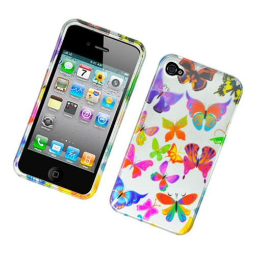 Insten Butterfly Hard Cover Case For Apple iPhone 4/4S, Colorful