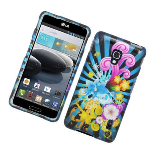 Insten Fireworks Hard Case For LG Optimus F6 MS500, Blue/Colorful