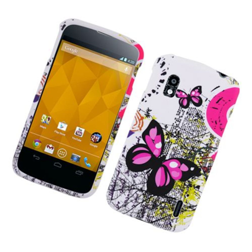 Insten Butterfly Hard Cover Case For LG Google Nexus 4 E960, White/Pink