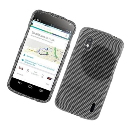 Insten Carbon Fiber Hard Cover Case For LG Google Nexus 4 E960, Dark Gray