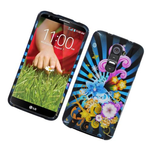 Insten Fireworks Hard Cover Case For LG G2 D800 AT&T, Blue/Colorful