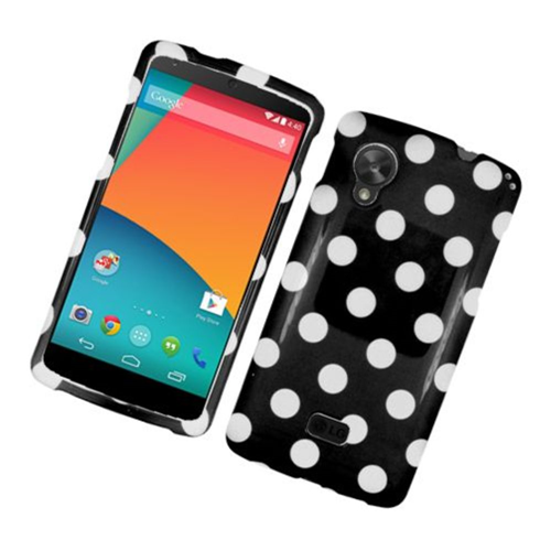 Insten Polka Dots Hard Plastic Case For LG Google Nexus 5 D820, Black/White