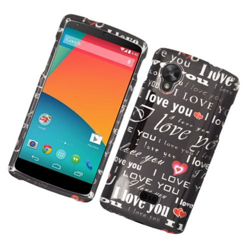 Insten Love You Hard Cover Case For LG Google Nexus 5 D820, Black/White