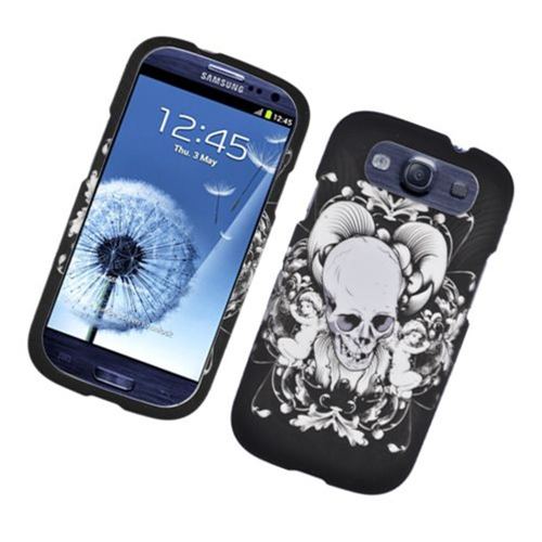 Insten Skull Hard Rubber Coated Case For Samsung Galaxy S3, Black/White