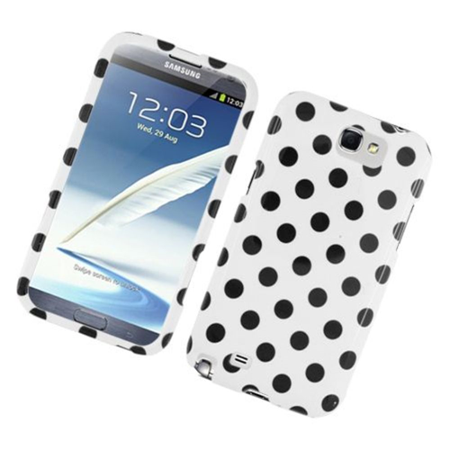 Insten Polka Dots Hard Plastic Cover Case For Samsung Galaxy Note II, White/Black