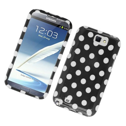 Insten Polka Dots Hard Plastic Case For Samsung Galaxy Note II, Black/White