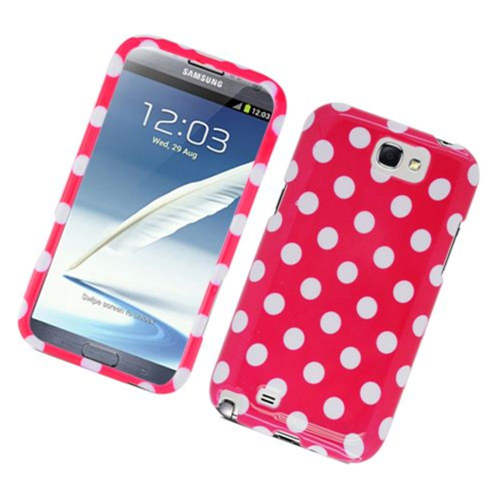 Insten Polka Dots Hard Plastic Case For Samsung Galaxy Note II, Hot Pink/White