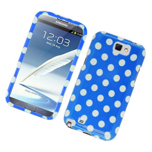Insten Polka Dots Hard Plastic Cover Case For Samsung Galaxy Note II, Blue/White