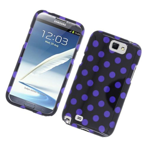 Insten Polka Dots Hard Plastic Case For Samsung Galaxy Note II, Black/Purple