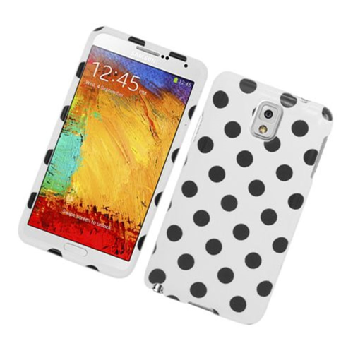 Insten Polka Dots Hard Plastic Cover Case For Samsung Galaxy Note 3, White/Black