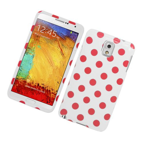 Insten Polka Dots Hard Plastic Cover Case For Samsung Galaxy Note 3, White/Pink
