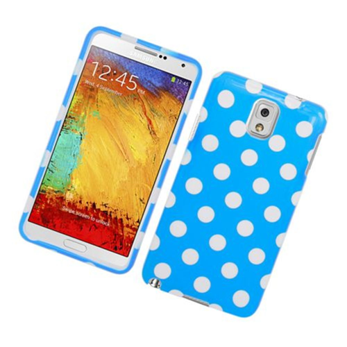 Insten Polka Dots Hard Plastic Case For Samsung Galaxy Note 3, Blue/White